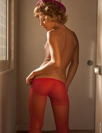 Stephanie strips off in a dark room revealing her skinny hot body