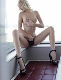 Hayden H,The Dressing Room,Watch New X-Art model Hayden slip out of her fancy lingerie black high heels and then get herself off.