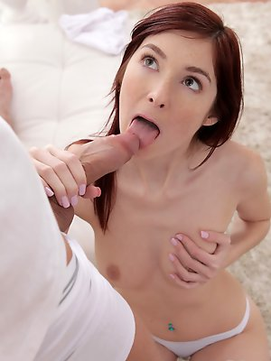 Fiery redhead Kattie Gold gives her man a long hot blowjob and takes him on a bouncing stiffie ride in her wet pussy