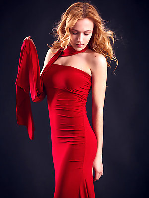 """""""Wearing stylish red dress that hugs her body curves, her red hair elegantly cascading into curls, Aislin's exotically girlish beauty with w"""